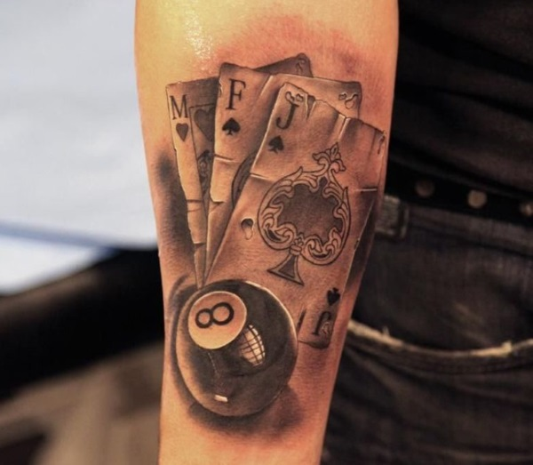 3D 8 Ball and Cards Tattoo Design