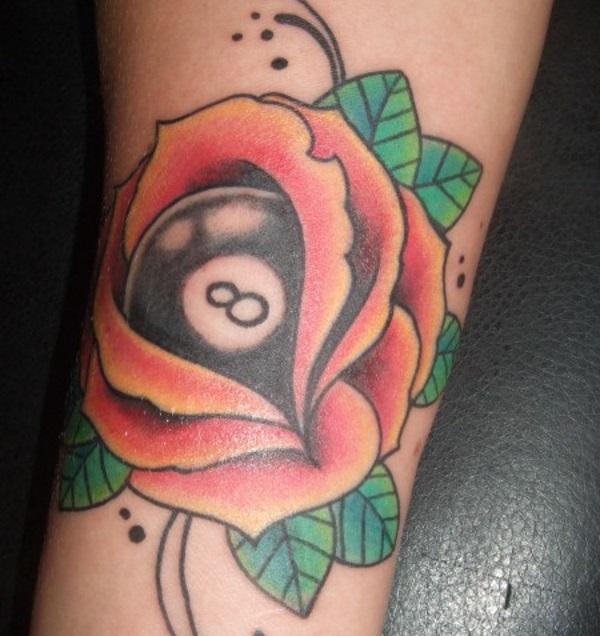8 Ball and Rose Pool Tattoo Design