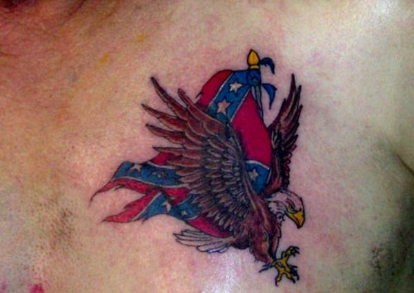 American Eagle and Confederate Flag Tattoo