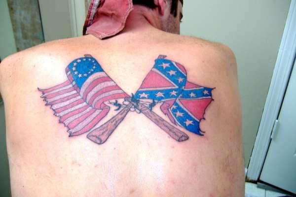 Confederate and Original American Flag Tattoo