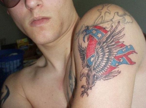 Eagle and Confederate Flag Tattoo