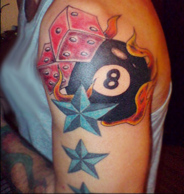 Flaming Pool Ball, Dice, and Stars Tattoo