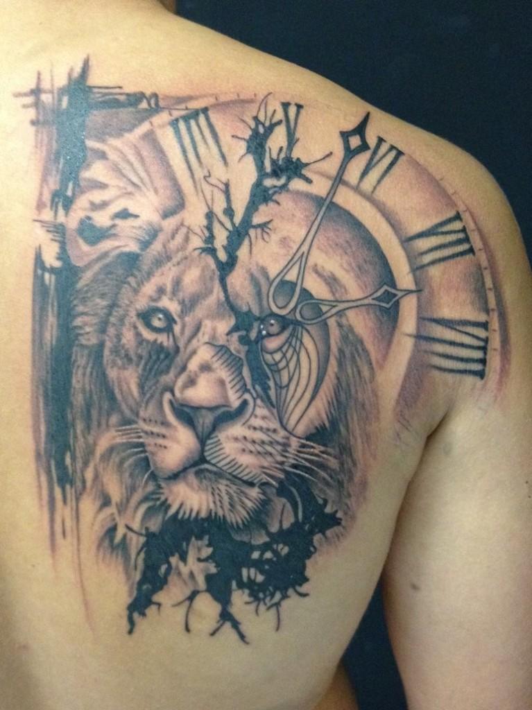 Lion and Clock Tattoo