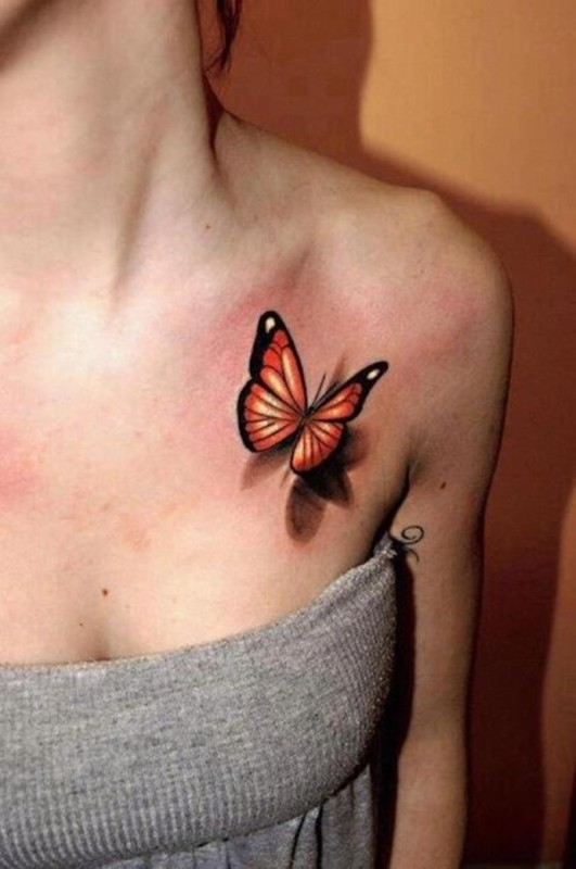Chest butterfly tattoos for girl