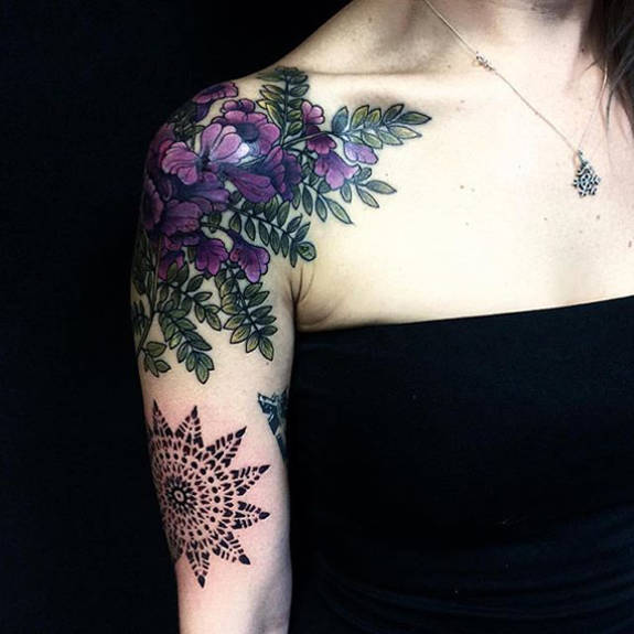 Colorful flowers tattoos for girl on hand