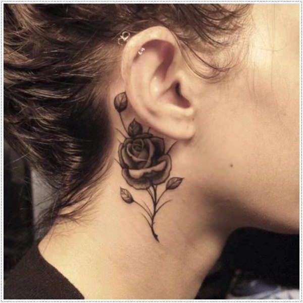 Cute rose flower tattoos behind ear