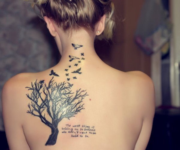 Tree with flying birds tattoo designs for girl