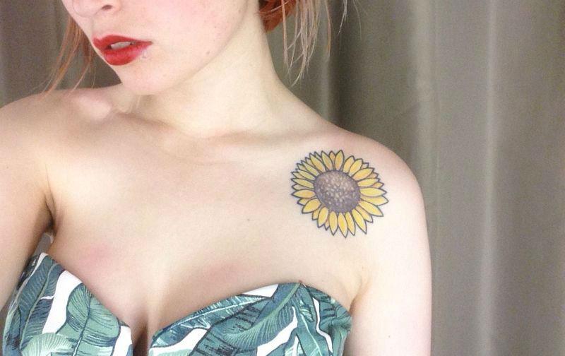 Warm Sunflower Tattoo Designs 16