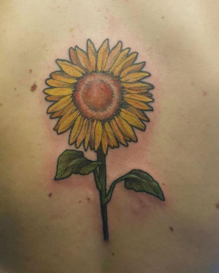 Warm Sunflower Tattoo Designs 17
