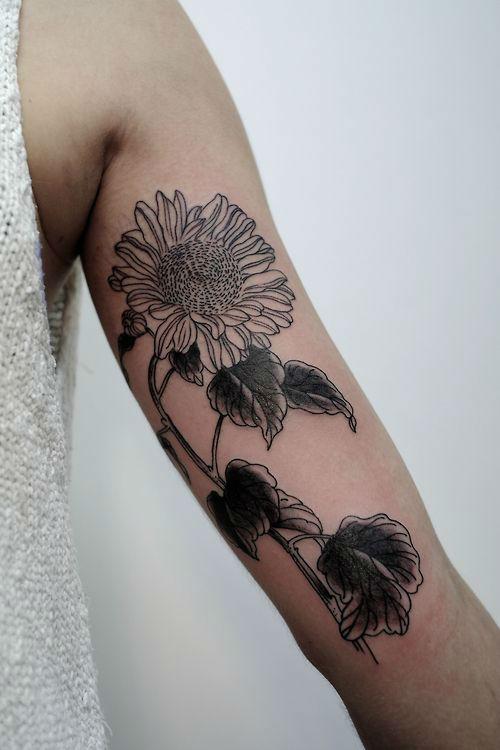Warm Sunflower Tattoo Designs 22