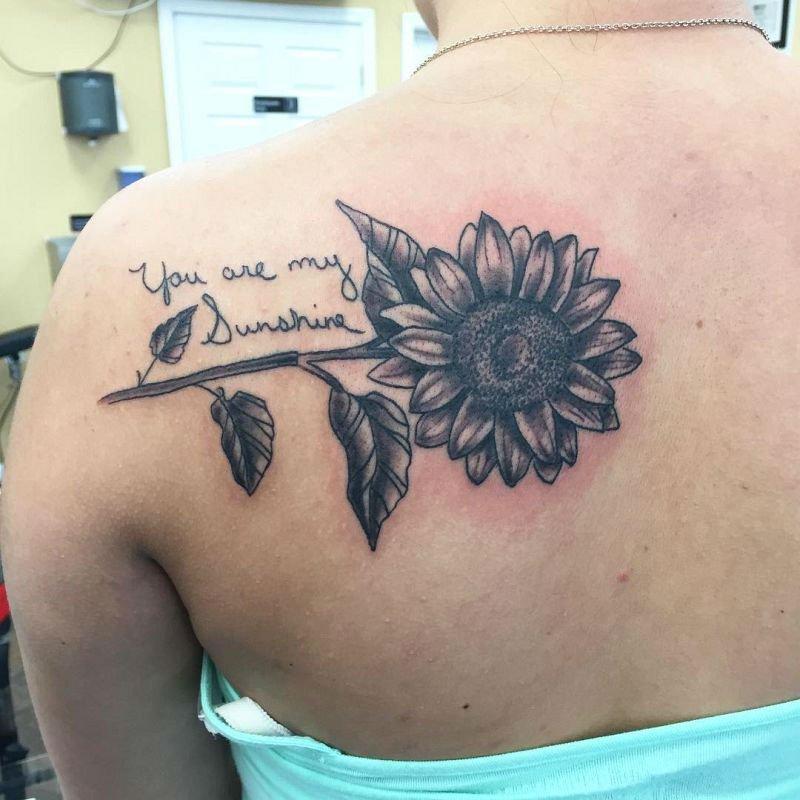 Warm Sunflower Tattoo Designs 7