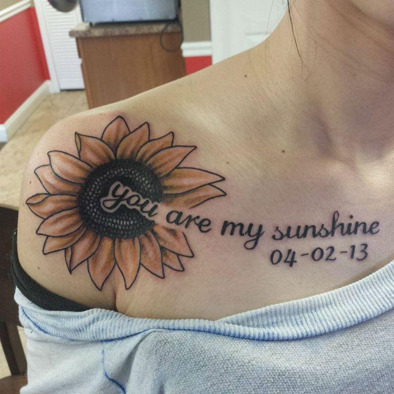 Warm Sunflower Tattoo Designs 8