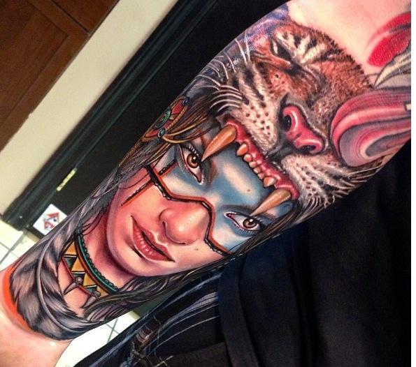 3D Native American Tattoo Design for Women