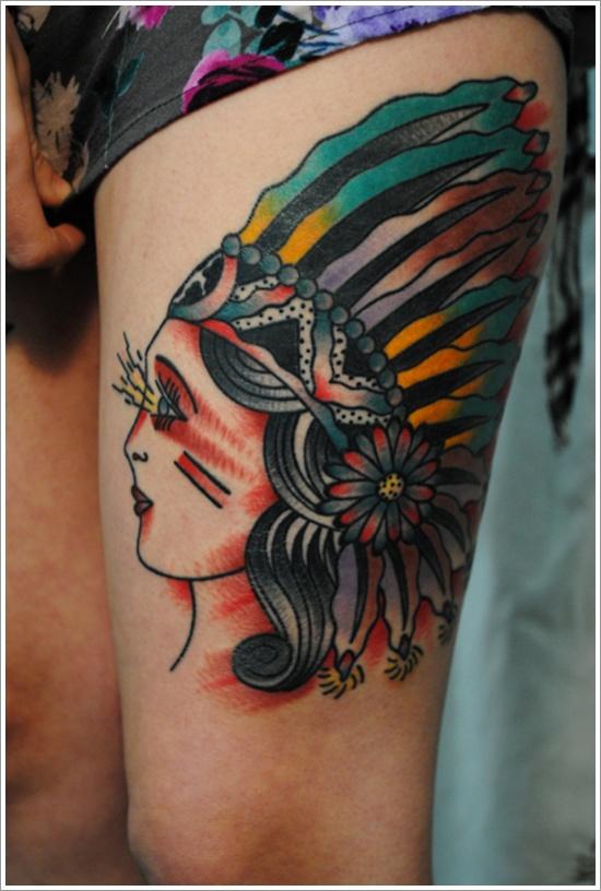 A Beautiful Native American Tattoo Design on Women Thigh