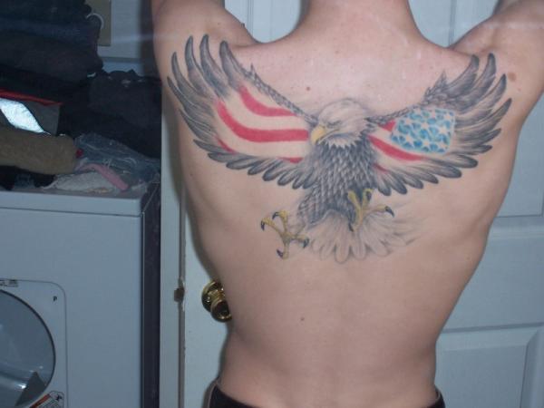 American Flag Hawk Tattoo for Men on Back