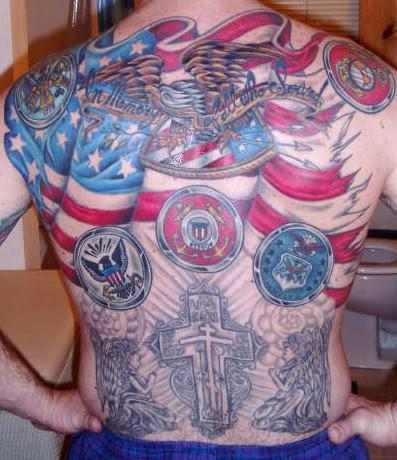 American tattoo for men on full back