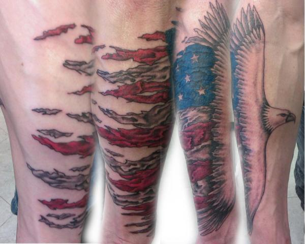 American tattoo with Eagle flying