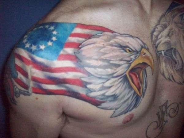 Eagle American Tattoo on chest
