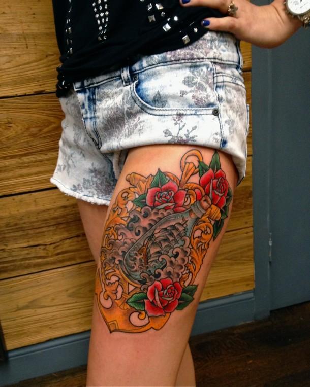Stimulating Thigh Tattoos 52