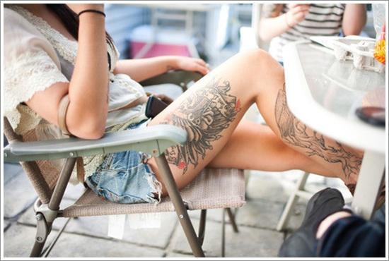 Stimulating Thigh Tattoos 68