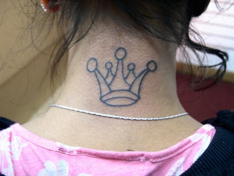 Crown Tattoo On Back Neck