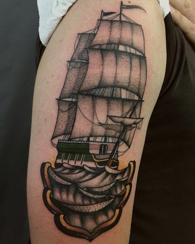 traditional style ship tattoo al boy